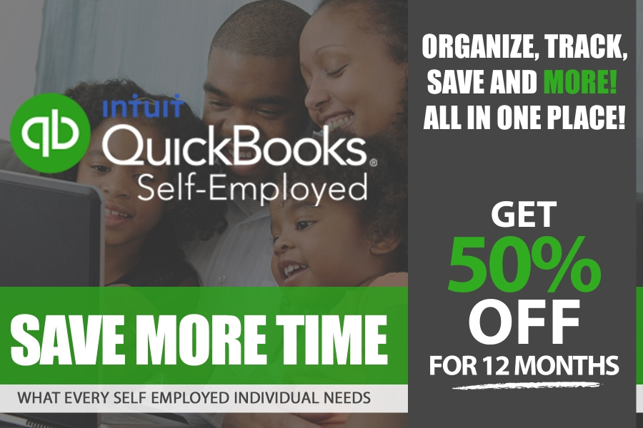 quick books self employed get 50% off of first year